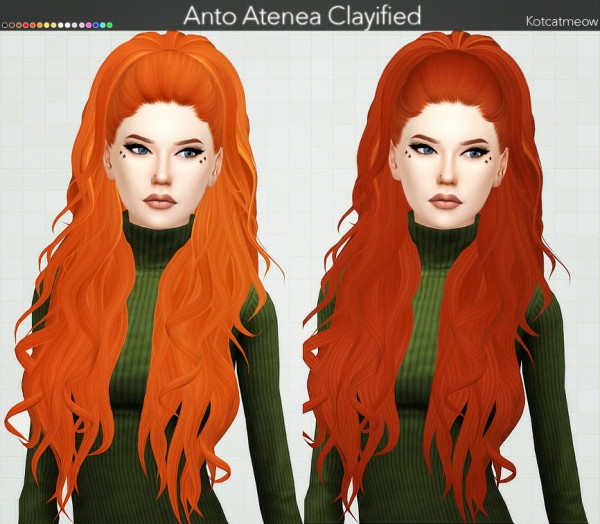 Kot Cat: Anto`s Atenea Hair Clayified for Sims 4