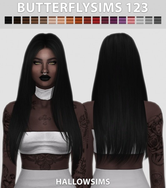 Hallow Sims: Butterfly`s 123 hair retextured for Sims 4
