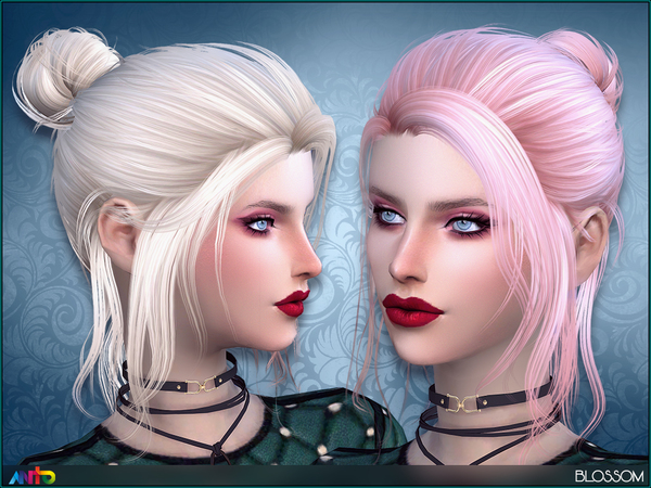 The Sims Resource: Blossom hair by Anto for Sims 4