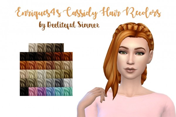 Deelitefulsimmer: Enrique`s Cassidy hair recolor for Sims 4