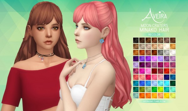 Aveira Sims 4: Moon Craters Minako Hair recolor for Sims 4