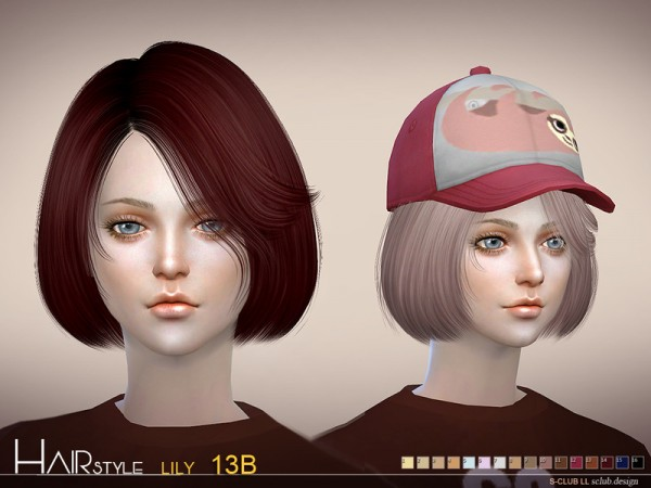 The Sims Resource: Lily n13B hair by S Club for Sims 4