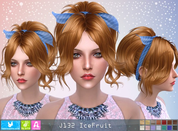NewSea: J132 Ice fruit hair for Sims 4