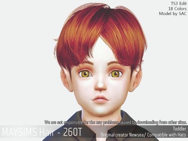 MAY Sims: May 260T hair retextured for Sims 4