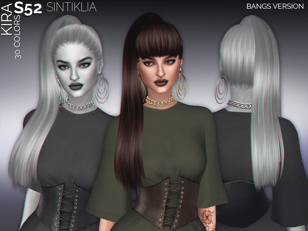 The Sims Resource: Hair s52 Kira with bangs by Sintiklia for Sims 4