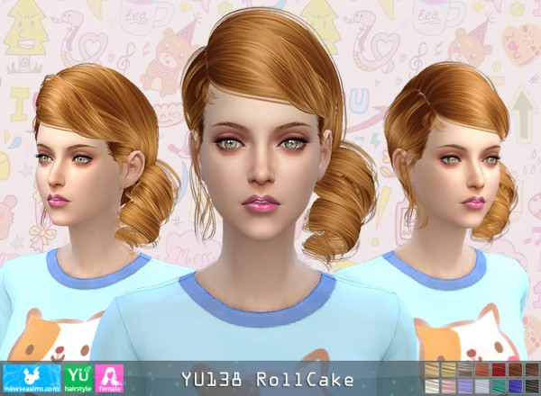 NewSea: YU138 Roll Cake hair for Sims 4