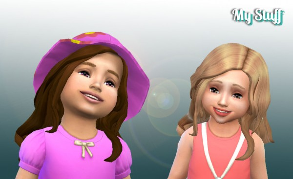 Mystufforigin: Long Curls for Toddler for Sims 4