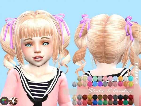 Studio K Creation: Animate hair 23 momo   toddler version for Sims 4