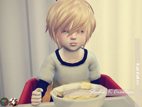 Studio K Creation: Animate hair 27 RIN toddler version for Sims 4