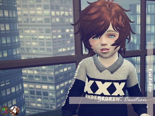 Studio K Creation: Animate hair 42 REIJI toddler version for Sims 4