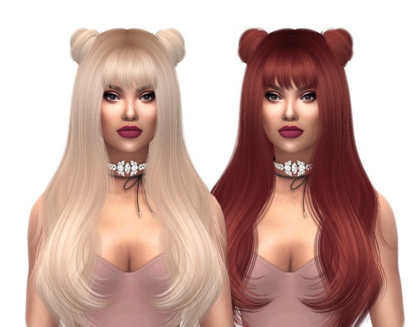 Kenzar Sims: Sclub Lucy  buns hair natural recolor for Sims 4