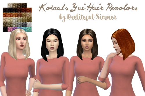 Deelitefulsimmer: Yui hair recolored for Sims 4