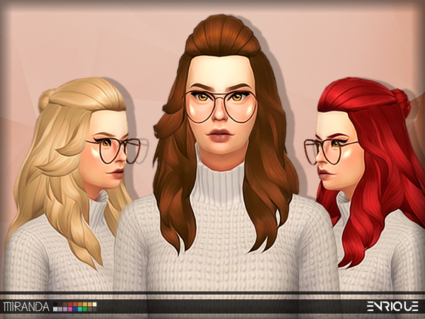 The Sims Resource: Enrigue`s Mirands hair retextured by Jruvv for Sims 4