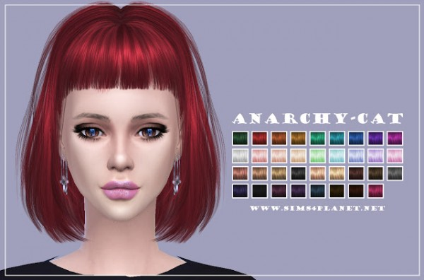 Anarchy Cat: LeahLillith`s Night Vision Hair recolored for Sims 4