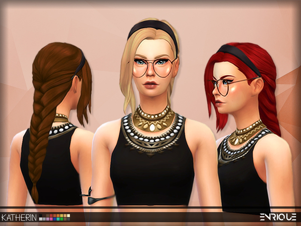 The Sims Resource: Enrique`s Katherine Hair retextured by Jruvv for Sims 4