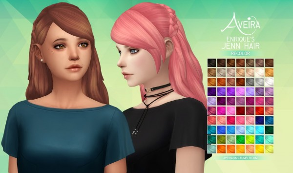 Aveira Sims 4: Enrique's Jenn Hair Recolor for Sims 4