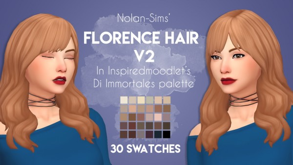 Stargirl Sims: Nolan's Florence Hair V2 Recolor for Sims 4