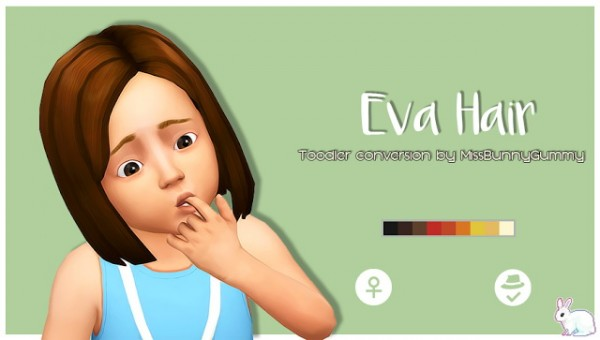 Miss Bunny Gummy: Eva Hair retextured for toddlers for Sims 4
