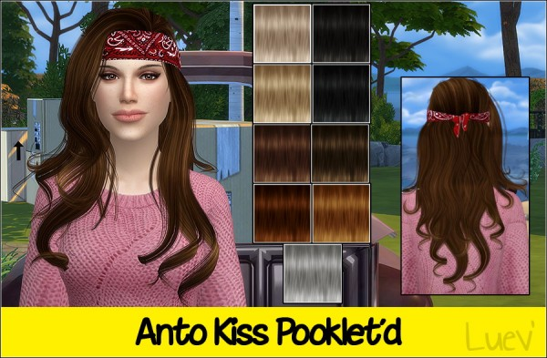 Mertiuza: Anto`s Kiss hair retextured for Sims 4