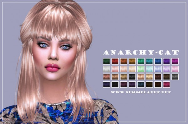Anarchy Cat: NewSea`s J084 hair retextured for Sims 4