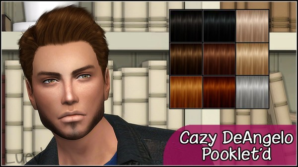 Mertiuza: Cazy`s DeAngelo hair retextured for Sims 4