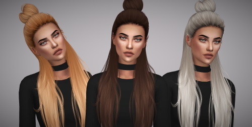 Aveline Sims: Hallow`s Myra hair retextured for Sims 4