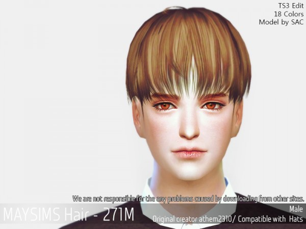MAY Sims: May 271M hair retextured for Sims 4