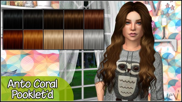 Mertiuza: Anto`s Coral hair retextured for Sims 4
