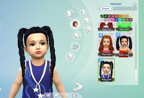 Mystufforigin: Long Braids for Toddlers for Sims 4