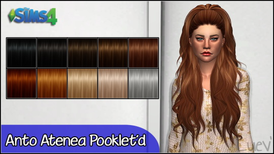 Mertiuza: Anto`s Atenea hair retextured for Sims 4