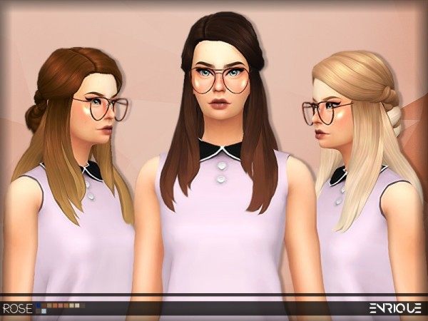 The Sims Resource: Enrique`s Rose Hair retextured by Jruvv for Sims 4