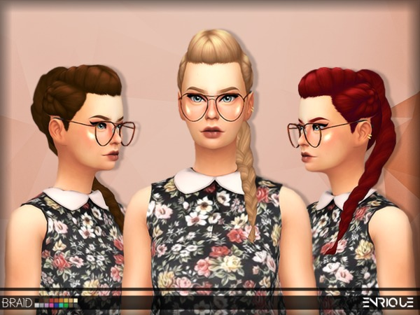 The Sims Resource: Enrique`s Braid Hair retextured by Jruvv for Sims 4