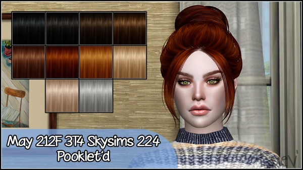 Mertiuza: Skysims 224 hair retextured for Sims 4