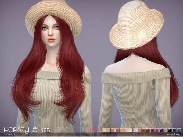 The Sims Resource: Lucy n16B hair by S club for Sims 4