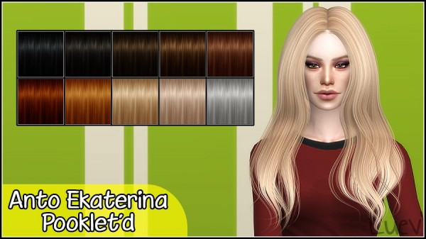 Mertiuza: Anto`s Ekaterina hair retextured for Sims 4