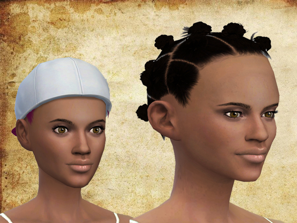 The Sims Resource: Afro buns hair by neissy for Sims 4