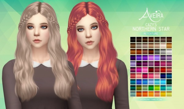 Aveira Sims 4: Cazy's Northern Star hair retextured for Sims 4