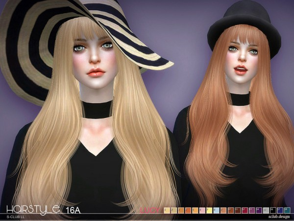 The Sims Resource: Lucy n16A hair by S Club for Sims 4