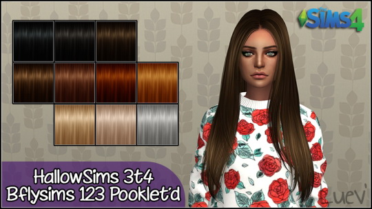 Mertiuza: Butterffly`s 123 hair retextured for Sims 4