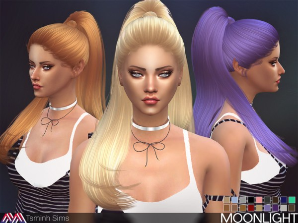The Sims Resource: Moonlight Hair 27 by T Siminh for Sims 4