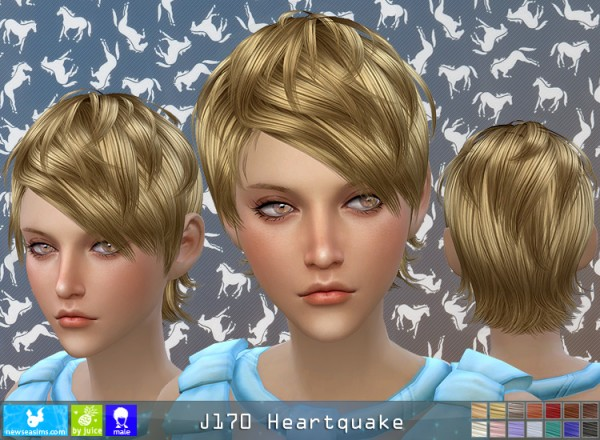 NewSea: J170 Heartquake hair for her for Sims 4