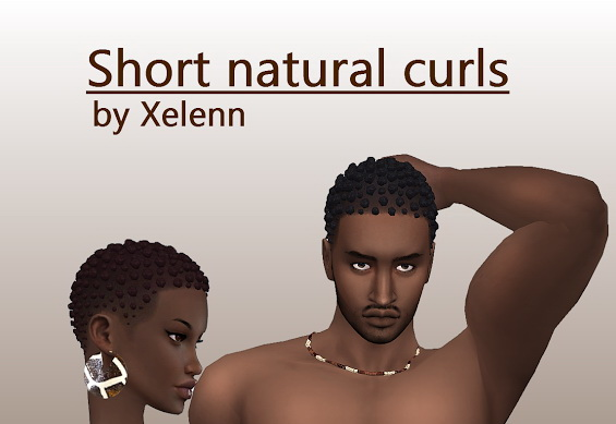 The Sims 4 Xelenn: Short natural curls hair for Sims 4