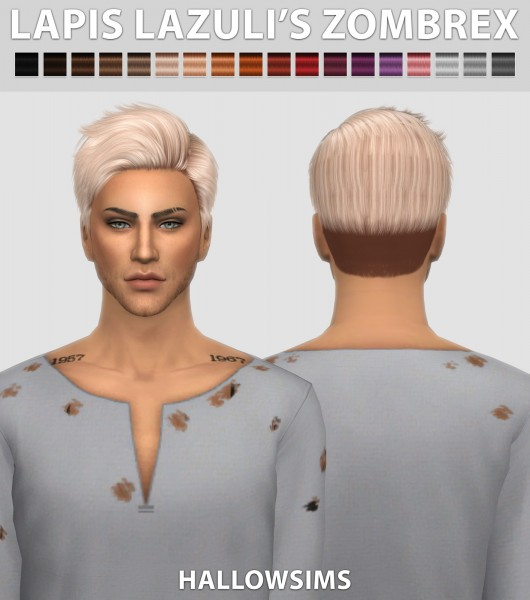 Hallow Sims: Lapiz Lazulis Zombrex hair retextured for Sims 4