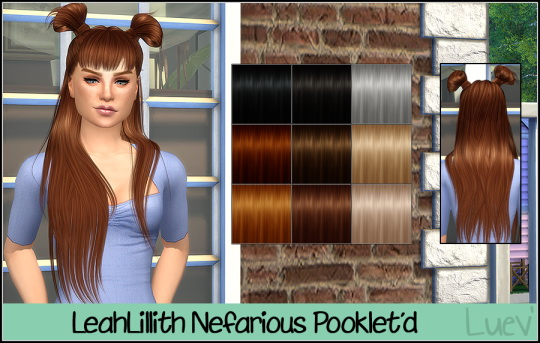Mertiuza: LeahLillith`s Nefarious no bangs hair retextured for Sims 4