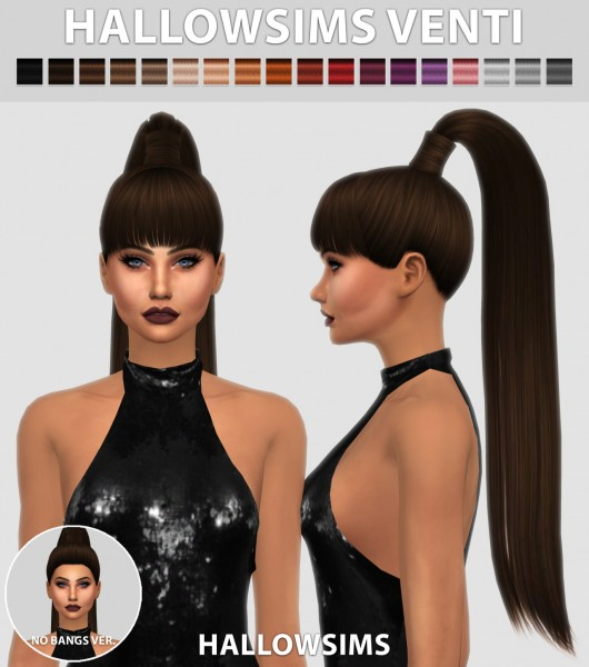 Hallow Sims: Venti hairs 2 Versions for Sims 4