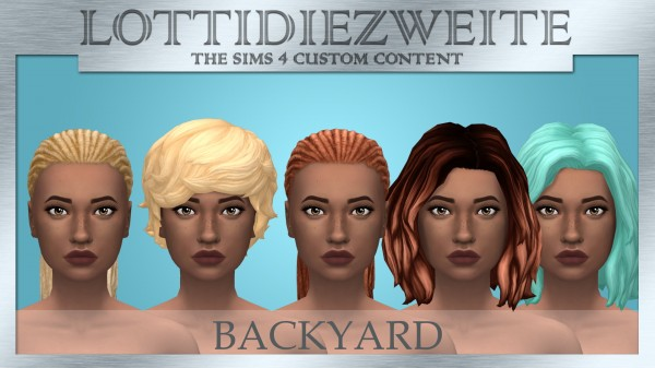 Simsworkshop: Backyard hair recolours by lottidiezweite for Sims 4