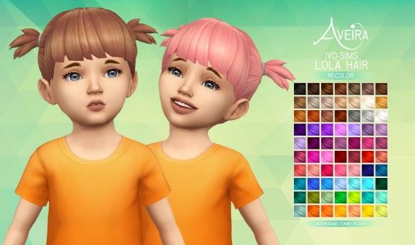 Aveira Sims 4: Ivo`s Lola Hair Recolor for Sims 4