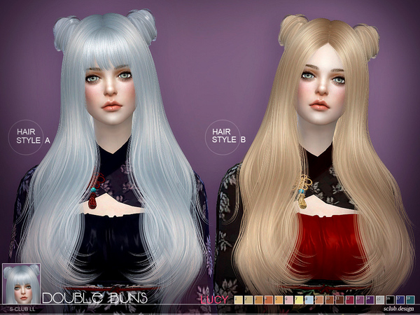 The Sims Resource: Lucy bun hair by S club for Sims 4
