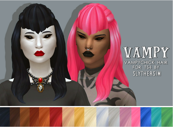 Slythersim: Vampy Chick hair retextured for Sims 4