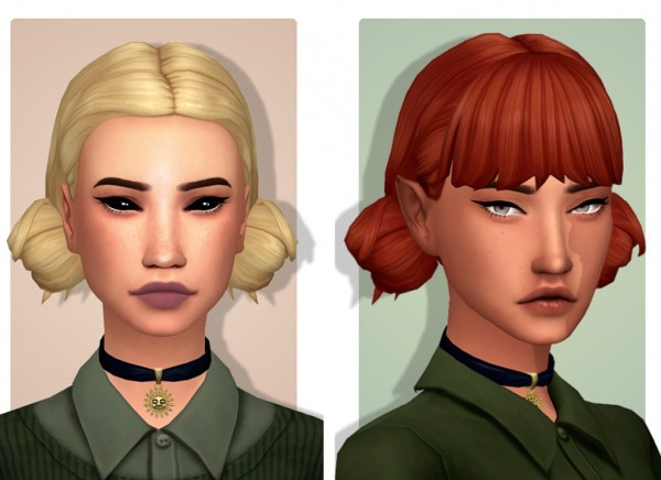 Tranquility Sims: Low Double Buns hair recolored for Sims 4
